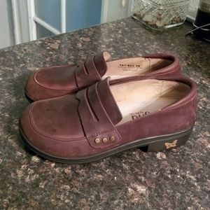Alegria brown leather slip on shoes 35